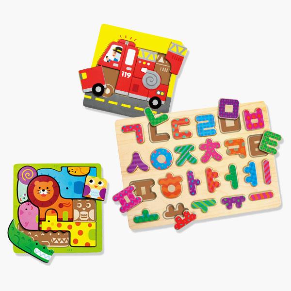 목재퍼즐 시리즈(나비/동물/소방차/숫자/알파벳/한글)